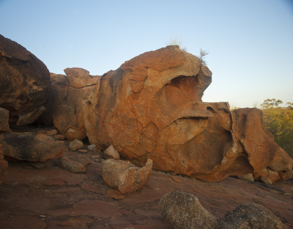 "The rocks take on many different colours and almost ""textures"" with the changing light during sunset and sunrise."