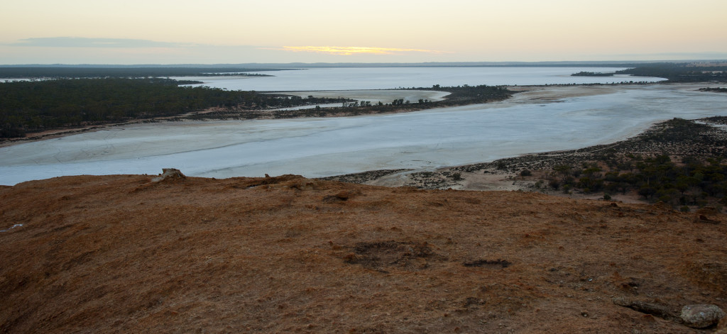 Sunrise at Balardgie Rock.  It is surrounded by miles and miles of salt  lakes.