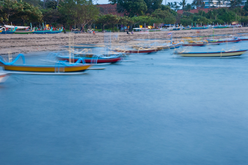 Fun shot of moving boats in Sanur